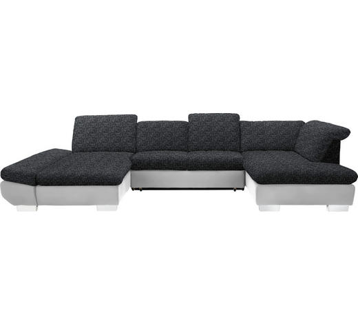 WOHNLANDSCHAFT in Textil Anthrazit, Weiß  - Chromfarben/Anthrazit, Design, Kunststoff/Textil (204/350/211cm) - Xora