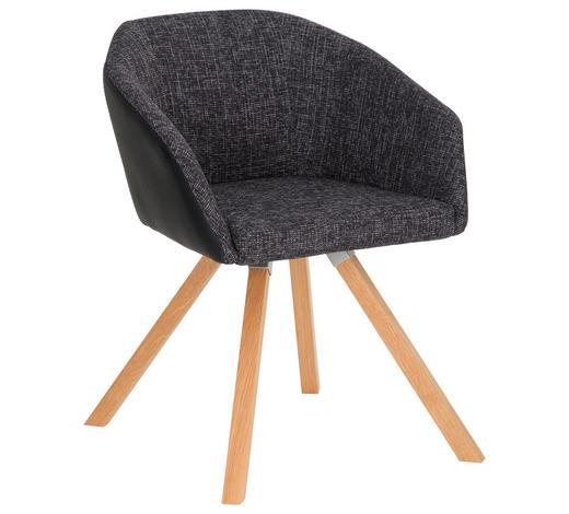 STUHL in Holz, Textil Anthrazit, Schwarz, Eichefarben - Eichefarben/Anthrazit, Design, Holz/Textil (62/81/56cm) - Dieter Knoll