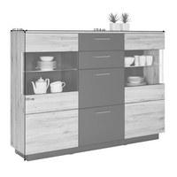 HIGHBOARD matt, Melamin Eichefarben, Grau - Eichefarben/Alufarben, Design, Glas/Holzwerkstoff (179,8/131/41,3cm) - Hom`in