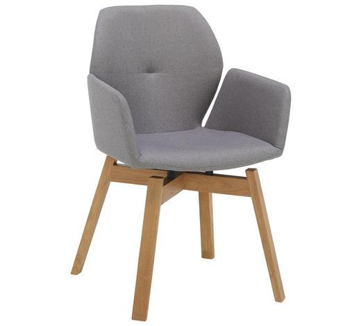 ARMLEHNSTUHL in Eichefarben, Grau - Eichefarben/Grau, Design, Holz/Textil (52/88/54cm) - Lomoco
