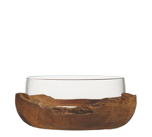 DEKOSCHALE - Klar/Teakfarben, LIFESTYLE, Glas/Holz (28/11/28cm) - Leonardo