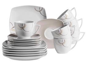 KAFFESERVIS - vit/brun, Lifestyle, keramik (23,5/23/20cm)
