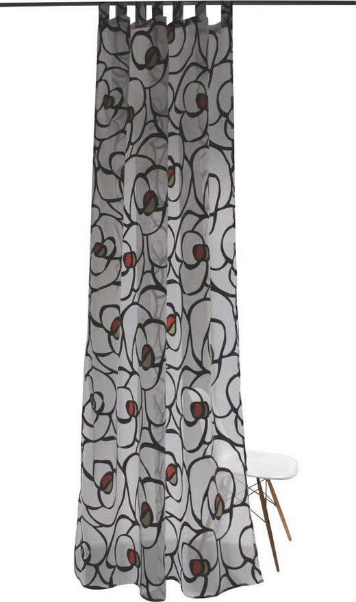 SCHLAUFENSCHAL  transparent  145/255 cm - Rot/Graphitfarben, Design, Textil (145/255cm)