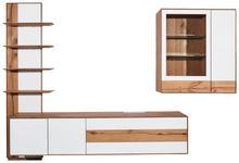 WOHNWAND in Weiß, Eichefarben  - Eichefarben/Weiß, Design, Glas/Holz (297,2/205,5/47,6cm) - Valnatura