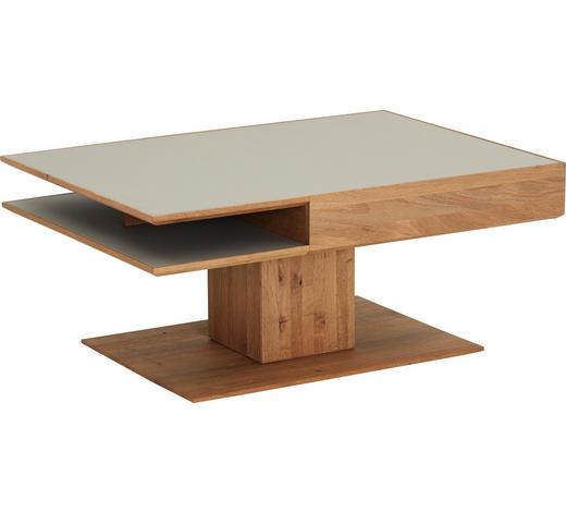 COUCHTISCH in Holz, Glas 105/75/46 cm   - Fango/Eichefarben, Design, Glas/Holz (105/75/46cm) - Valnatura