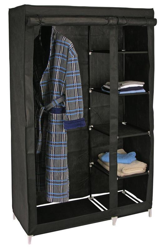 KLEIDERSCHRANK Schwarz - Schwarz, Basics, Textil (110/178/46cm)
