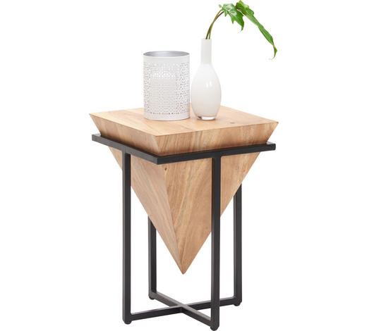 ODKLÁDACÍ STOLEK, akácie, přírodní barvy, černá - černá/přírodní barvy, Trend, kov/dřevo (36/36/56cm) - Ambia Home