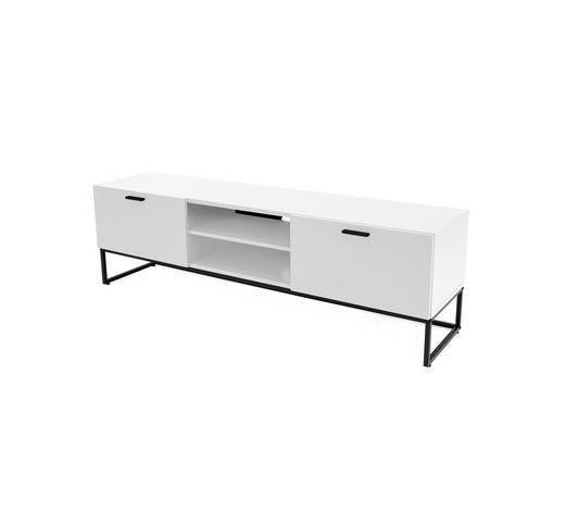 LOWBOARD lackiert Weiß  - Schwarz/Weiß, Design, Holzwerkstoff/Kunststoff (176/53,5/43cm)