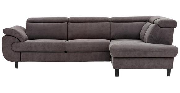 WOHNLANDSCHAFT Grau Webstoff  - Schwarz/Grau, Natur, Textil/Metall (284/204cm) - Valnatura