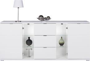 SIDEBOARD - vit/kromfärg, Design, metall/glas (200/85/40cm) - Carryhome