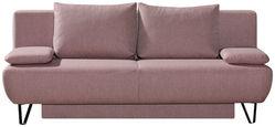 ZOFA S POSTELJNO FUNKCIJO,  roza tekstil - roza/črna, Moderno, kovina/tekstil (202/90/91cm) - Xora