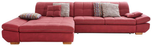WOHNLANDSCHAFT in Textil Rot, Bordeaux  - Eichefarben/Bordeaux, Natur, Holz/Textil (204/341cm) - Xora