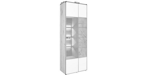 VITRINE in vollmassiv Kerneiche Eichefarben, Weiß - Eichefarben/Weiß, Natur, Glas/Holz (69,5/196/39cm) - Valnatura