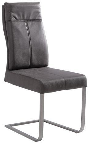 SVIKTSTOL - mörkgrå/rostfritt stål-färgad, Design, metall/textil (44,5/104/63cm) - Hom`in
