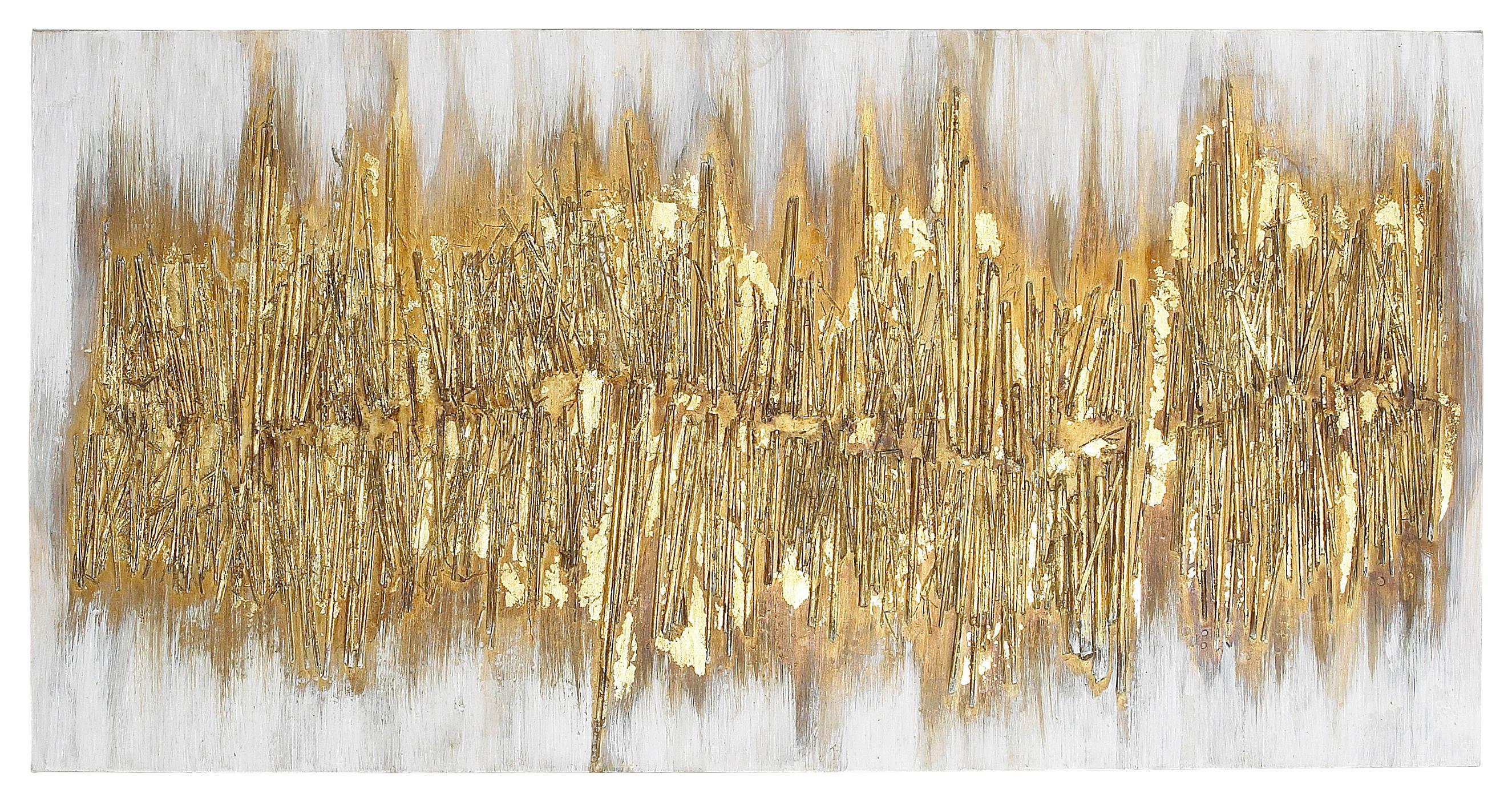 ÖLGEMÄLDE - Goldfarben, Basics, Holz/Textil (60/120cm) - MONEE