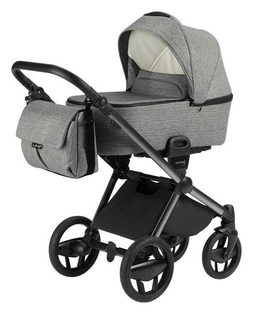 Life Plus  Knorr-Baby Kinderwagenset  Graphitfarben - Schwarz/Graphitfarben, Design, Textil/Metall (57/105/109cm)