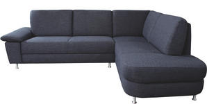 WOHNLANDSCHAFT Dunkelgrau - Dunkelgrau/Alufarben, KONVENTIONELL, Textil/Metall (262/212cm) - Venda