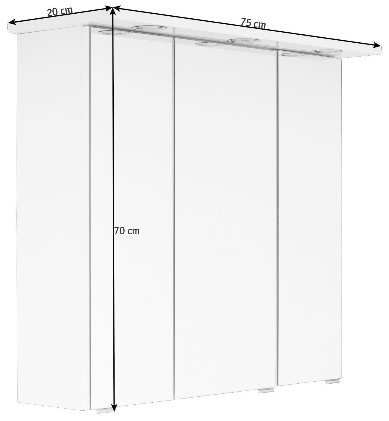 ELEMENT S OGLEDALOM - bijela, Konvencionalno, staklo/drvni materijal (75/70/20cm) - XORA