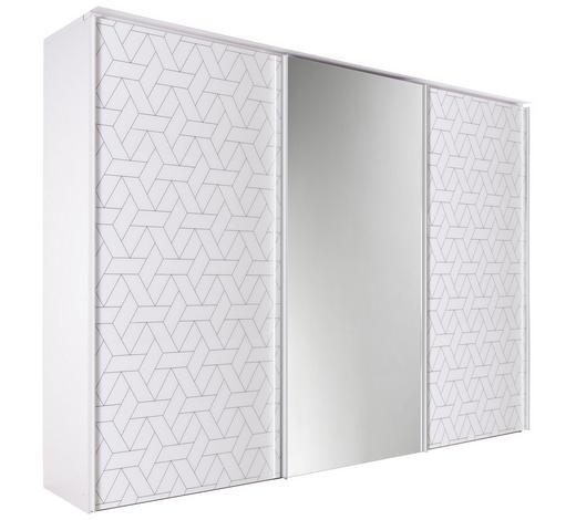 SCHWEBETÜRENSCHRANK in Weiß - Chromfarben/Weiß, Design, Glas/Holzwerkstoff (280/222/68cm) - Dieter Knoll