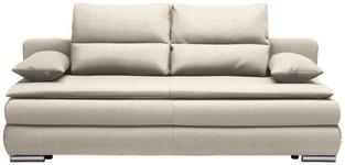 SCHLAFSOFA in Textil Beige  - Beige/Silberfarben, KONVENTIONELL, Kunststoff/Textil (207/94/90cm) - Venda