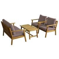 GARTENSET  10-teilig - Taupe/Akaziefarben, Design, Holz/Textil - AMBIA GARDEN