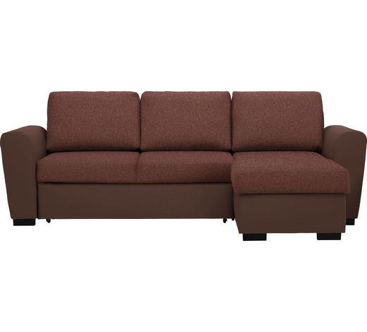 WOHNLANDSCHAFT in Textil Braun, Dunkelbraun - Dunkelbraun/Schwarz, Design, Kunststoff/Textil (250/157cm) - Carryhome