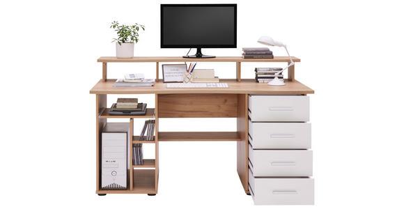 COMPUTERTISCH in Holzwerkstoff 150/93/73 cm  - Eichefarben/Silberfarben, KONVENTIONELL, Holzwerkstoff/Kunststoff (150/93/73cm) - Cantus