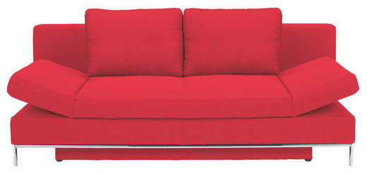 SCHLAFSOFA Flachgewebe Rot - Chromfarben/Rot, Design, Textil/Metall (203/83/90cm) - NOVEL