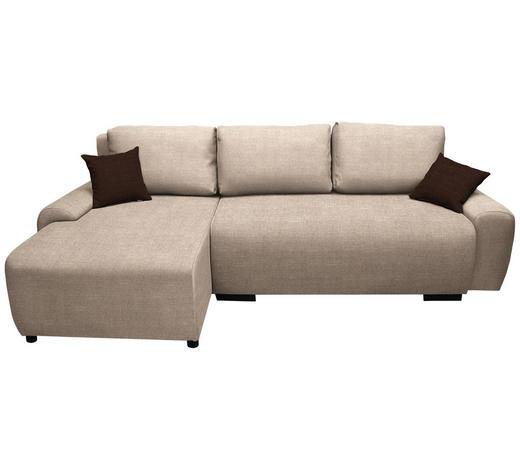 WOHNLANDSCHAFT in Textil Beige - Beige/Dunkelbraun, Design, Kunststoff/Textil (133/240cm) - Ti`me