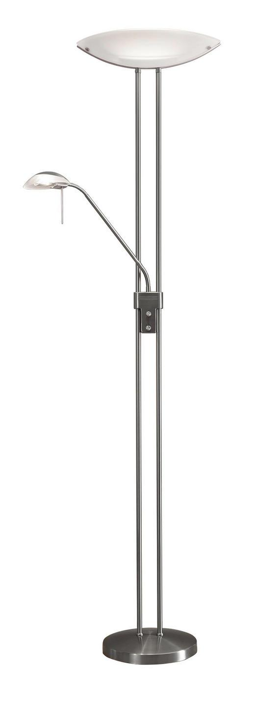 STEHLEUCHTE - Weiß/Nickelfarben, KONVENTIONELL, Glas/Metall (44/28/180cm) - Novel