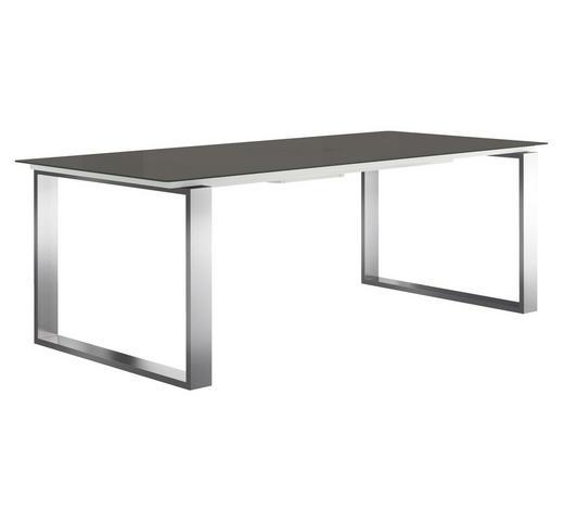 ESSTISCH rechteckig Grau, Edelstahlfarben - Edelstahlfarben/Grau, Design, Glas/Metall (220/100/75cm) - Now by Hülsta