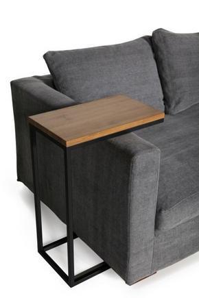 AVLASTNINGSBORD - grå/svart, Modern, metall/trä (50/30/71cm)