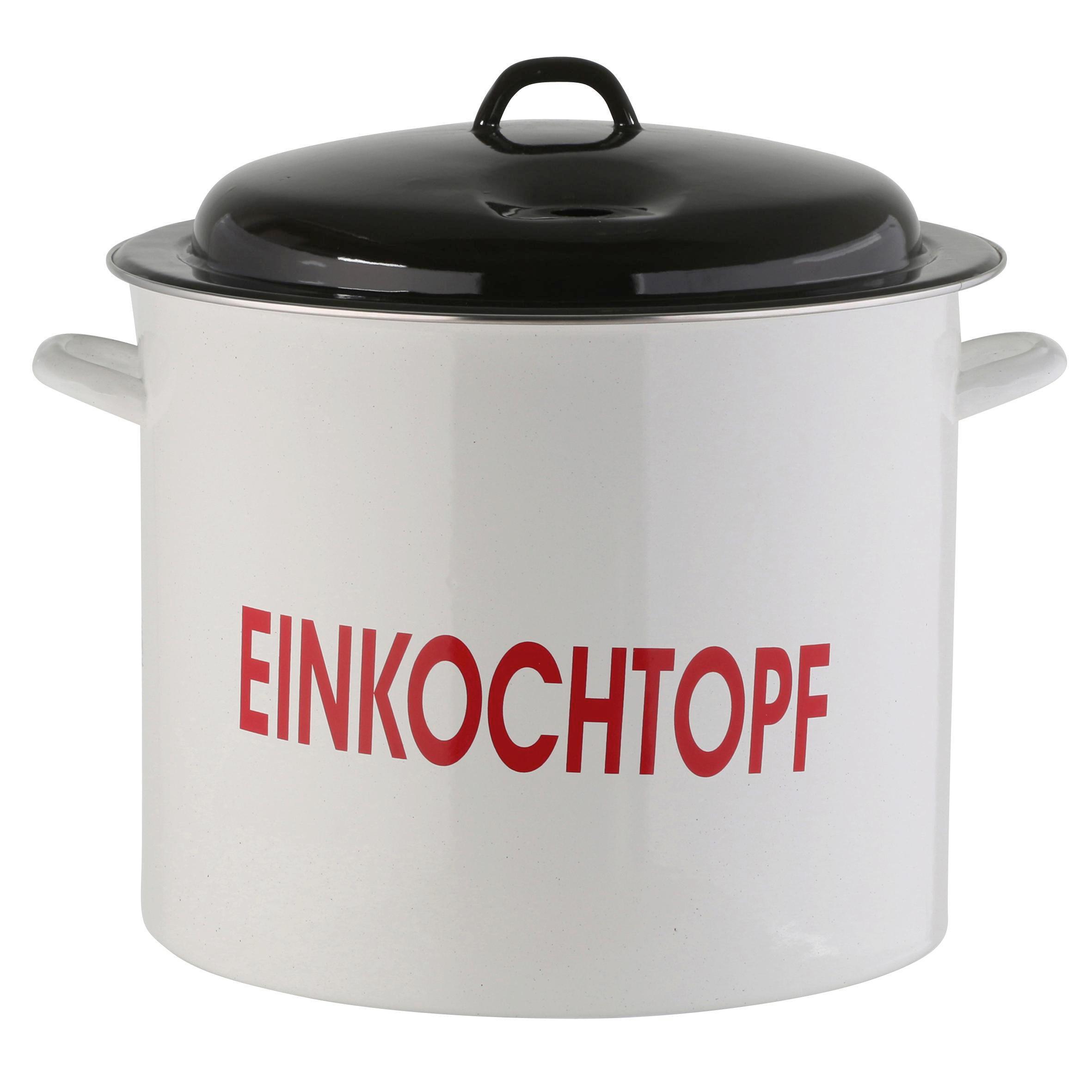 EINKOCHTOPF  Stahl  25 L - Schwarz/Weiß, Metall (35cm)