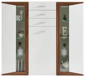 HIGHBOARD Weiß, Nussbaumfarben  - Silberfarben/Nussbaumfarben, Design, Glas/Holzwerkstoff (144/130/43cm) - Hom`in