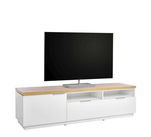 LOWBOARD Hochglanz, Melamin Weiß  - Eichefarben/Alufarben, Design, Holzwerkstoff (180/49,5/50cm) - Xora