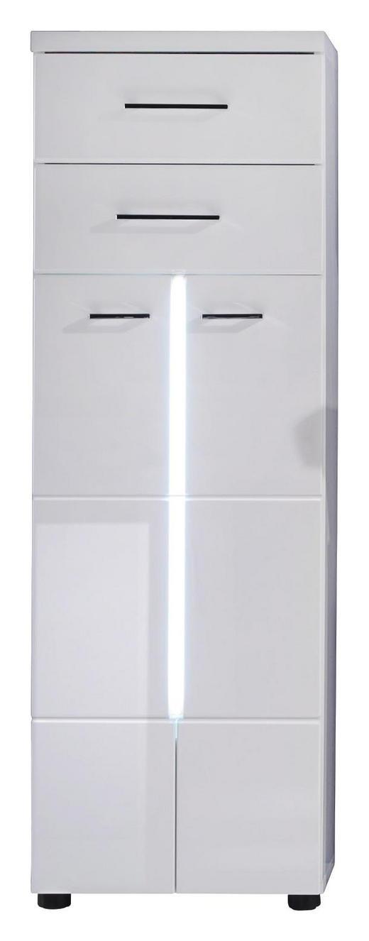 SEITENSCHRANK Weiß - Silberfarben/Schwarz, Design, Holzwerkstoff/Kunststoff (43/128/31cm) - Xora