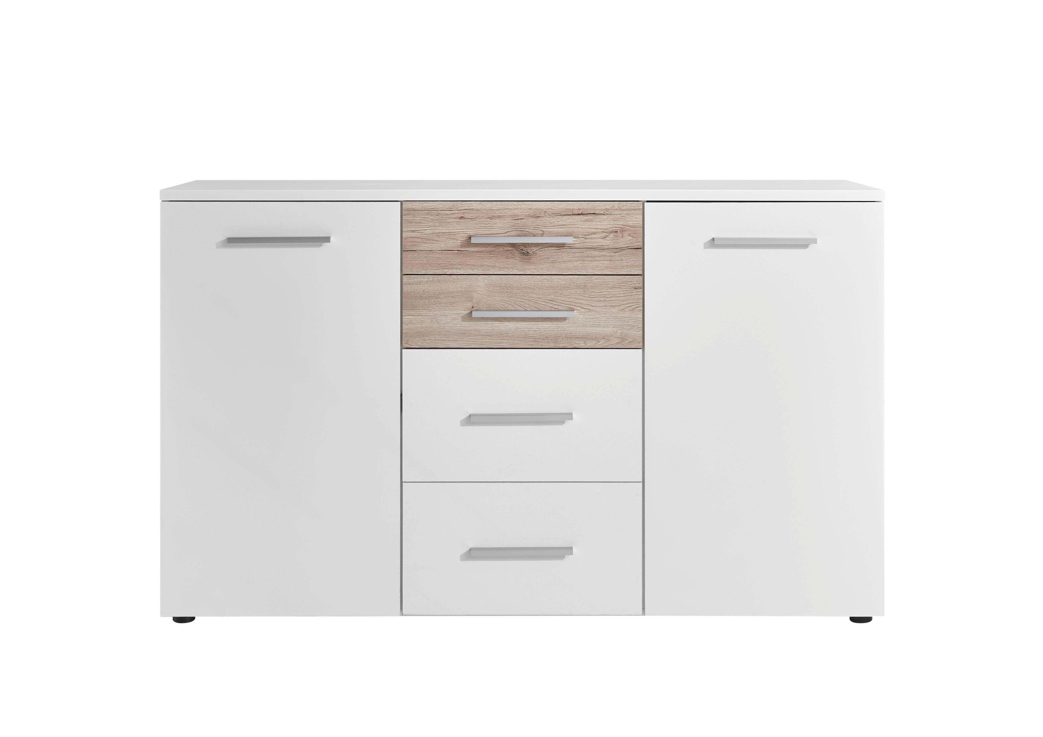 KOMMODE Eichefarben, Weiß - Eichefarben/Alufarben, KONVENTIONELL, Holzwerkstoff/Kunststoff (149/90/38cm) - XORA