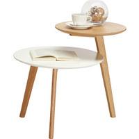 ODKLÁDACÍ STOLEK, bílá, barvy dubu - bílá/barvy dubu, Design, kompozitní dřevo (62/50/55cm) - Carryhome