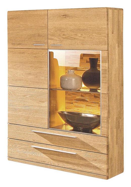 SCHRANK Wildeiche vollmassiv gebürstet, gekalkt, lackiert, matt Eichefarben - Edelstahlfarben/Eichefarben, Design, Glas/Holz (94.5/154/38cm) - VALDERA