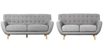SEDACÍ SESTAVA, textil, šedá, světle šedá - šedá/světle šedá, Design, dřevo/textil (180/84/82cm) - Carryhome