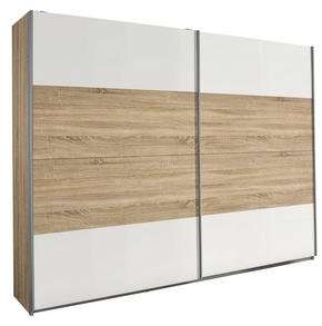 SKJUTDÖRRSGARDEROB - vit/Sonoma ek, Design, metall/träbaserade material (226/210/62cm) - Carryhome