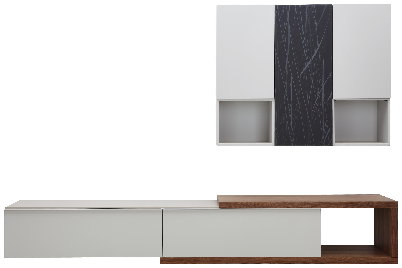 WOHNWAND In Eichefarben, Grau, Weiß   Eichefarben/Weiß, Design,  Holzwerkstoff (