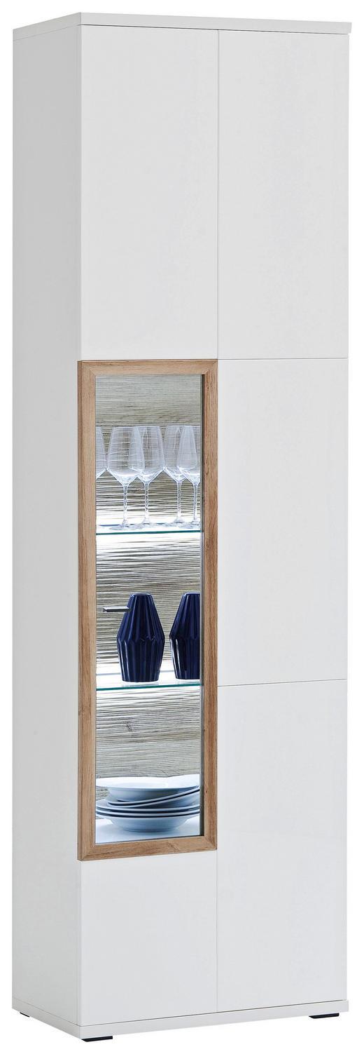 VITRINE Eichefarben, Weiß - Eichefarben/Weiß, Design, Glas/Holzwerkstoff (60/207/37cm) - Novel