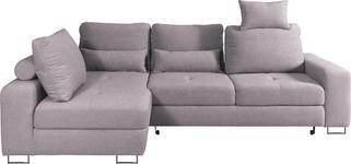 WOHNLANDSCHAFT in Textil Hellgrau - Hellgrau, Design, Textil/Metall (188/260cm) - Hom`in