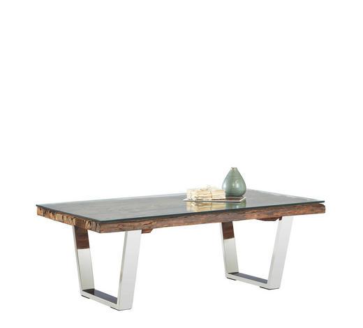COUCHTISCH in Holz, Metall, Glas 130/70/45 cm - Edelstahlfarben/Braun, Design, Glas/Holz (130/70/45cm) - Novel