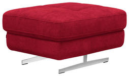 HOCKER Rot - Chromfarben/Rot, Design, Textil (86/37/65cm) - Novel
