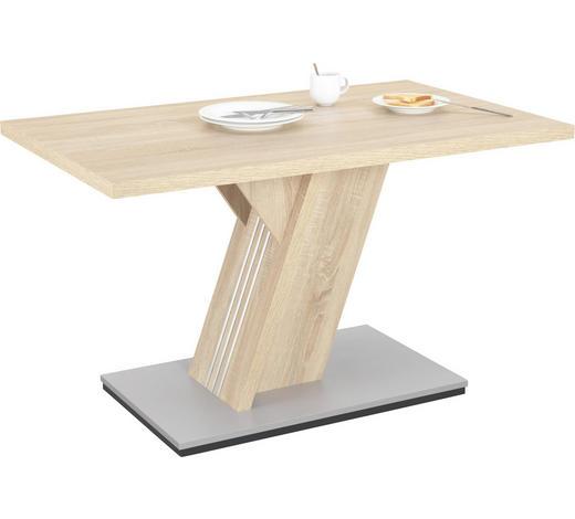 ESSTISCH rechteckig Eichefarben  - Edelstahlfarben/Eichefarben, KONVENTIONELL, Holzwerkstoff (130/85/76cm) - Xora