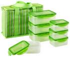 Kühltasche +7 Frischhaltedosen 8-teilig - Transparent/Grün, Basics, Kunststoff (32/22/14cm)