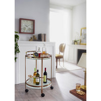 SERVIERWAGEN rund Goldfarben  - Goldfarben, Design, Glas/Kunststoff (50/80/50cm) - Carryhome