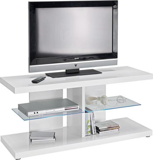TV-ELEMENT Weiß - Weiß/Grau, Design, Glas/Kunststoff (120/52/40cm)